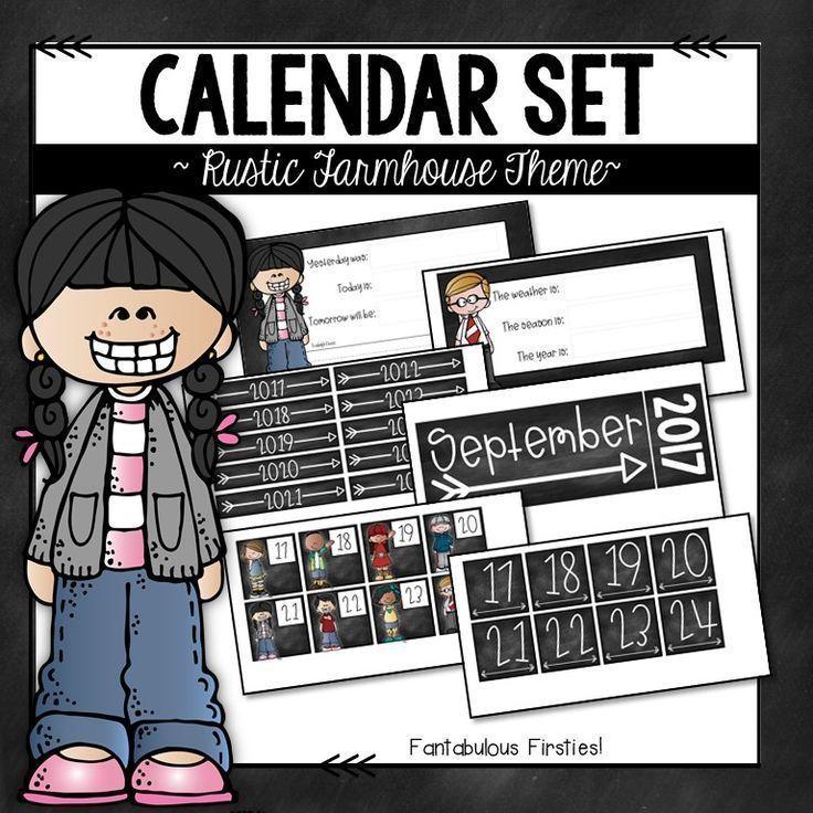 Daily Calendar Set Rustic Farmhouse Theme Alphabet Pinterest