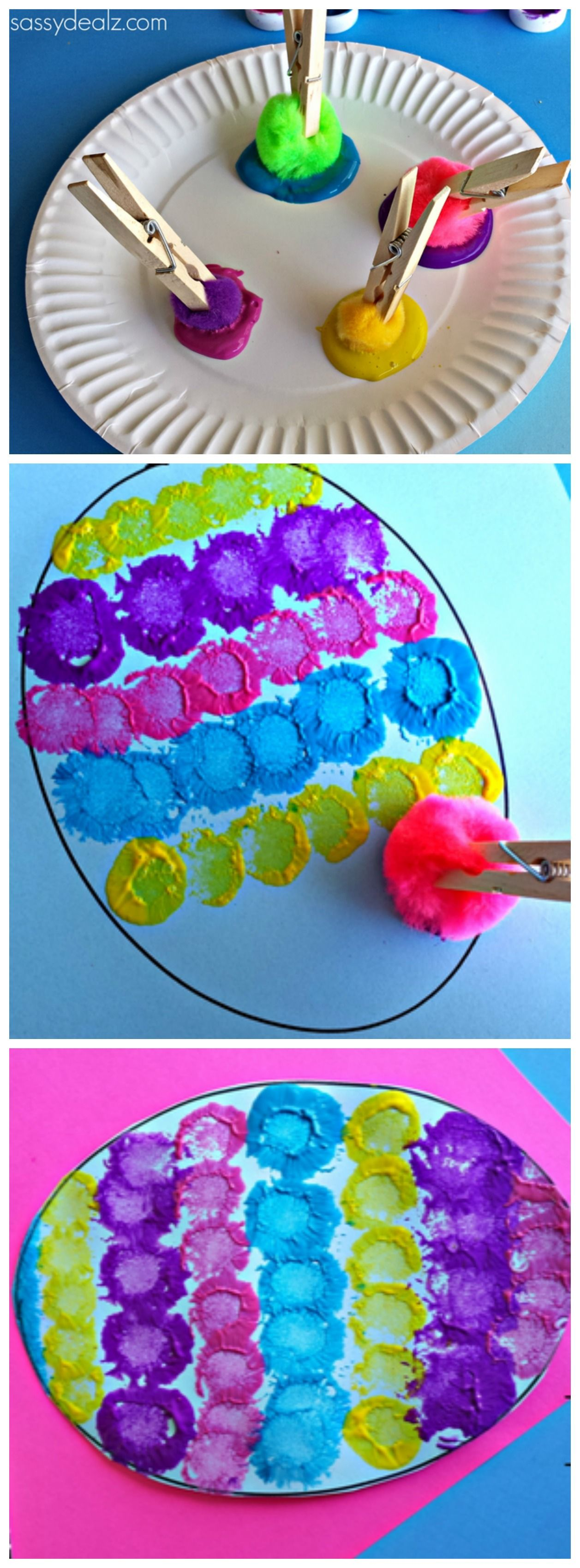 Easter Craft For Kids Using Pom Poms Clothespins And Paint You