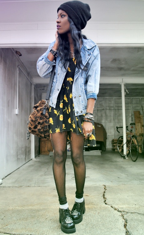 Grunge up a cute floral dress with a denim or leather jacket, sheer tights, creepers and a beanie! #grunge #fashion