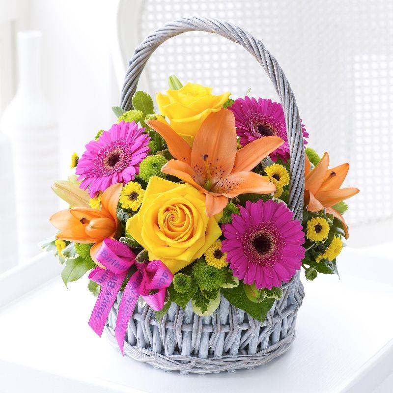 Birthday Flower Arrangements Vibrant Birthday Basket