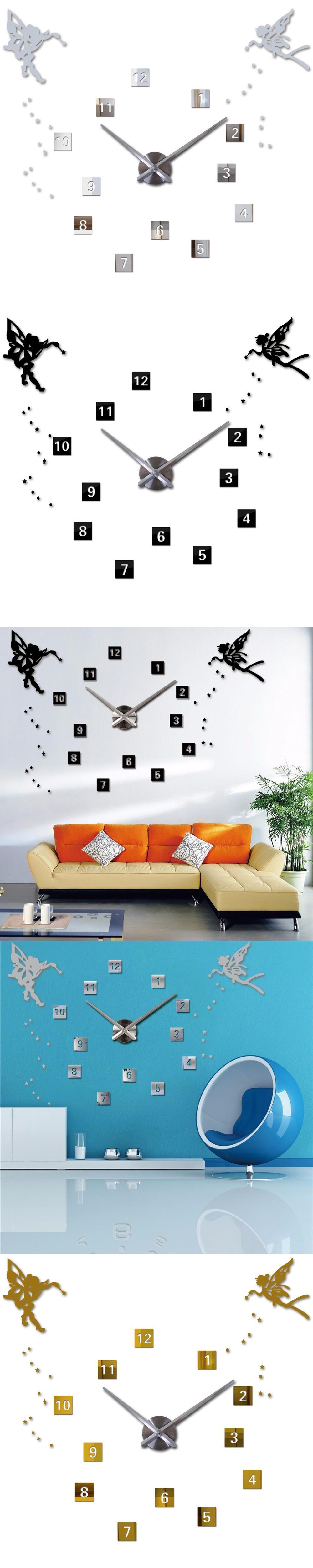 Angel Wings Princess 2016 3D Diy Arabic Digital Wall Clock Modern 3d ...
