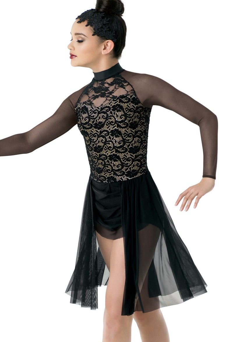 Weissman Long Sleeve Glitter And Mesh Dress Contemporary Dance Outfits Dance Dresses Beautiful Costumes