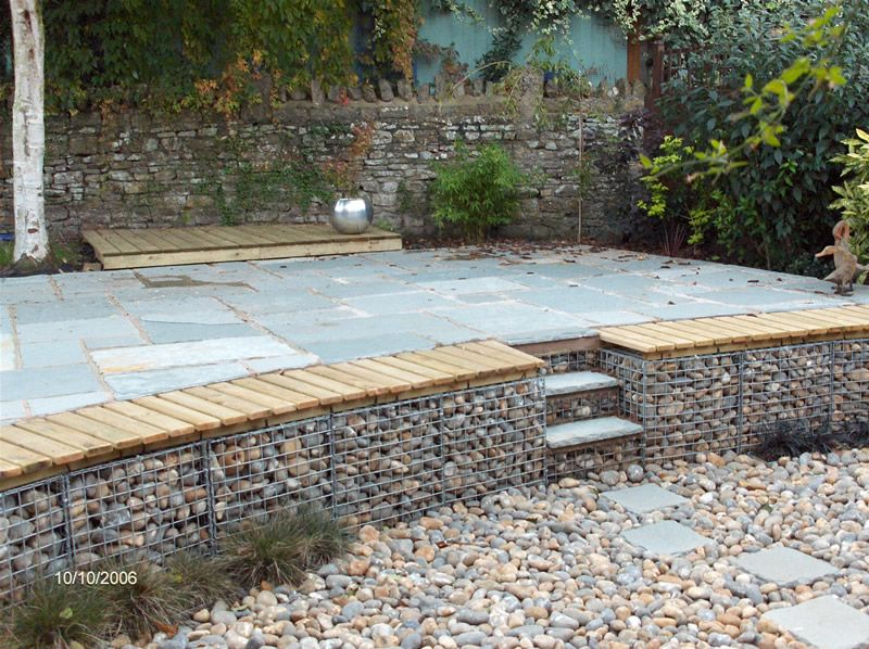Curved Gabion With Bench And Steps Yard Inexpensive