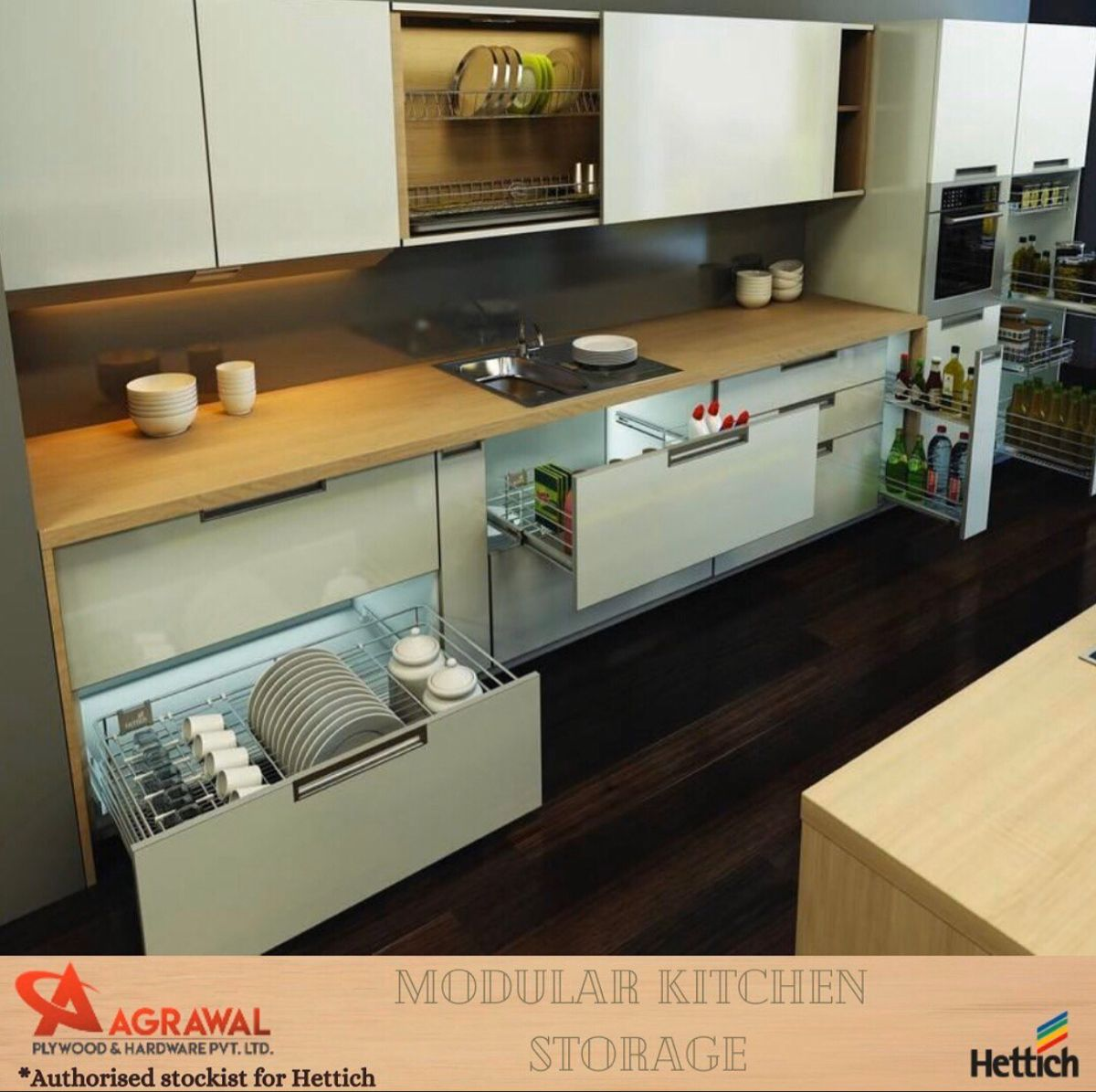Wire baskets for your modular kitchen!  Classy as always with @agrawalgroup_  . . .  .  #plywood #wood #woodworking #plywoodfurniture #interiordesign #furniture #design #handmade #interior #architecture #furnituredesign #woodwork #diy #homedecor #multiplek #plywooddesign #triplek #carpentry #art #rakdinding #woodworker #cnc #rakkayu #ambalandinding #kitchen #catduco #rakbuku #dekorasikamar #rakpajangan #bhfyp