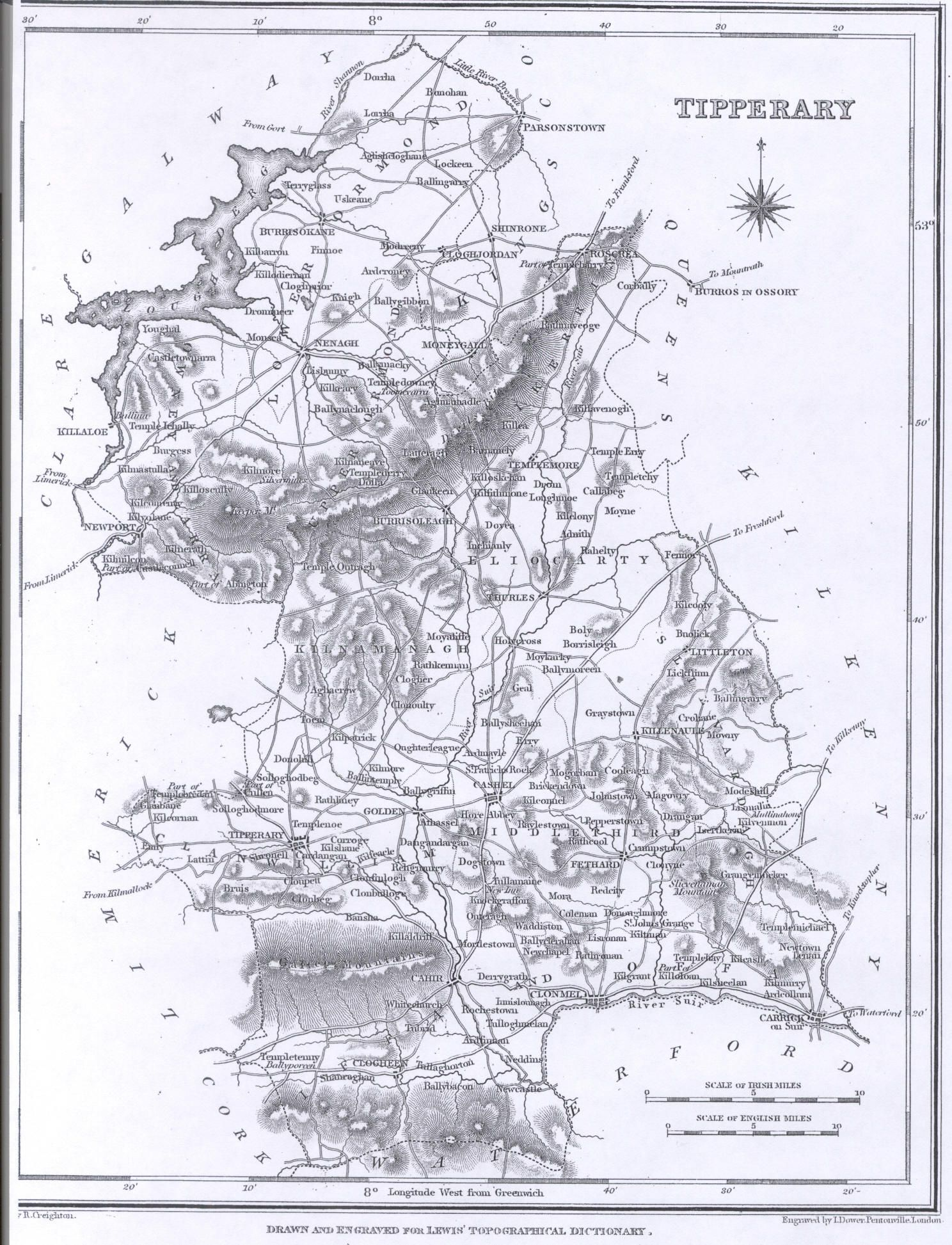 County Tipperary Ireland Map.Lewis 1837 Atlas Counties Of Ireland County Of Tipperary My