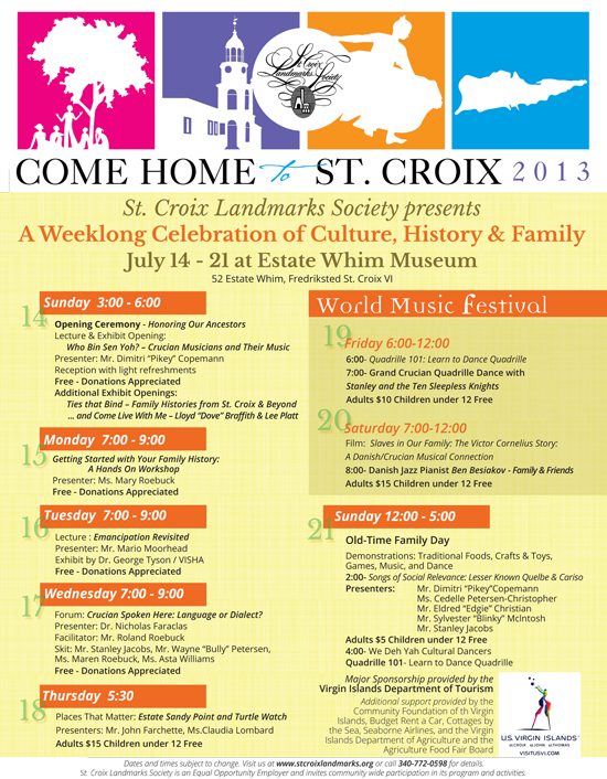 St. Croix Chamber of Commerce - Events Calendar - Come Home to St. Croix, World Music Festival, Old Time Family Day, Places that Matter: Estate Sandy Point - all hosted and benefiting St. Croix Landmarks Society and Estate Whim Museum