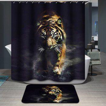 Tiger Pattern Printing Waterproof Shower Curtain Animal Shower