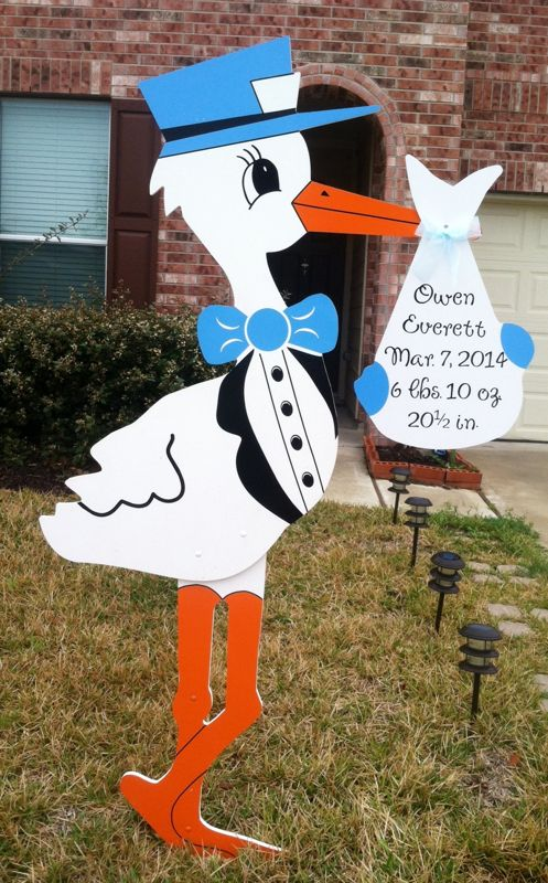 Stork Sign Lawn Greeting Boy Stork Lawn Announcement Sign