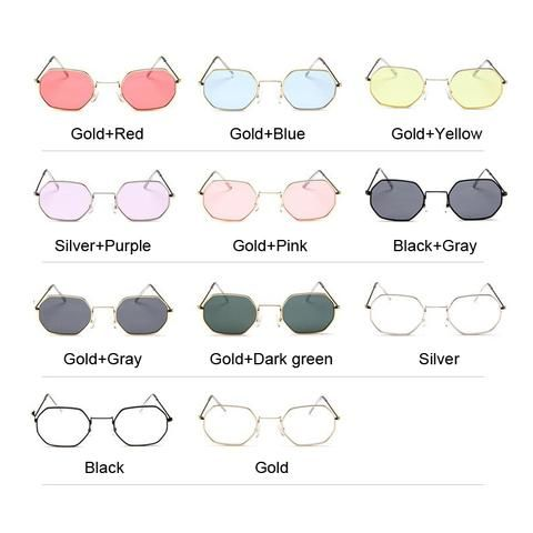 8fe3c2023 Vintage Hexagon Metal Frame Clear Lens Sunglasses RI | accessories ...
