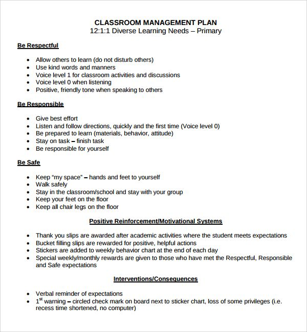 It is always best to have a classroom management plan to hold - management plan templates free