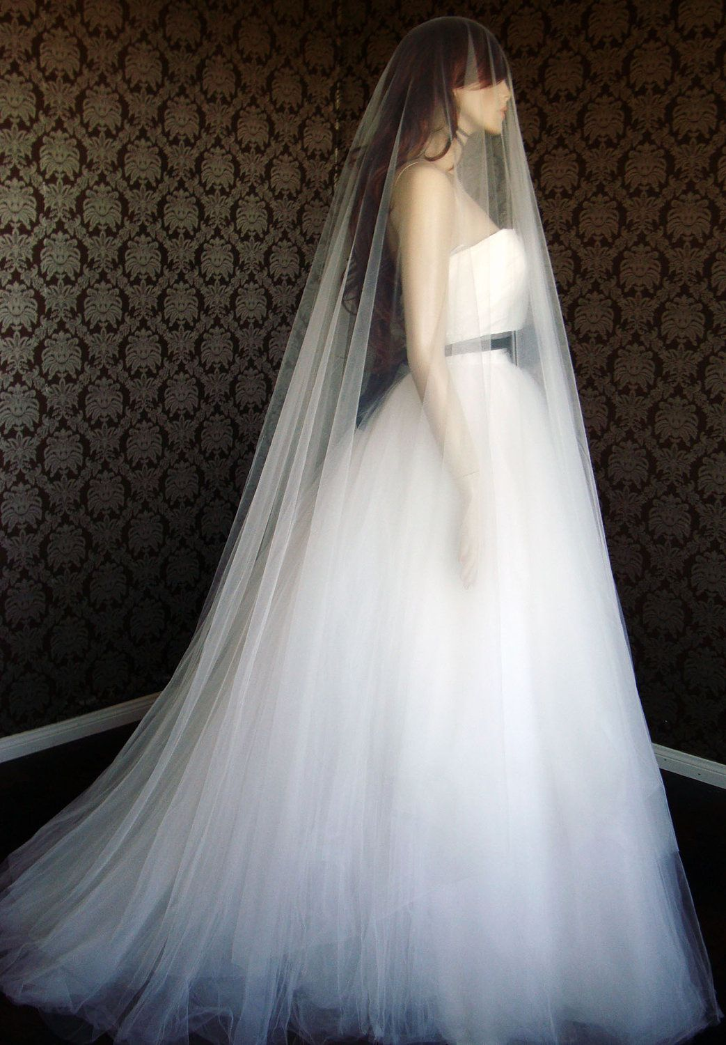 """Luxury 108"""" inch Width Cathedral Drop Silk Tulle Veil"""