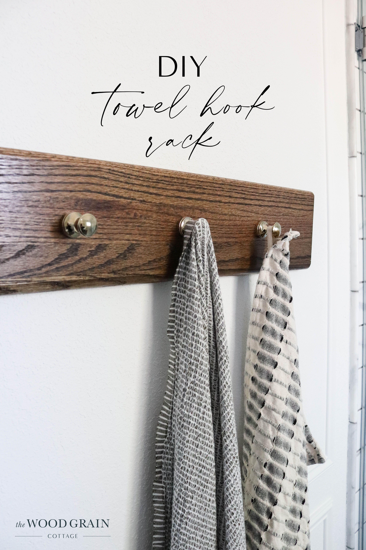 Diy Towel Hook Rack In 2020 Diy Towels Towel Hooks Diy Staircase Makeover