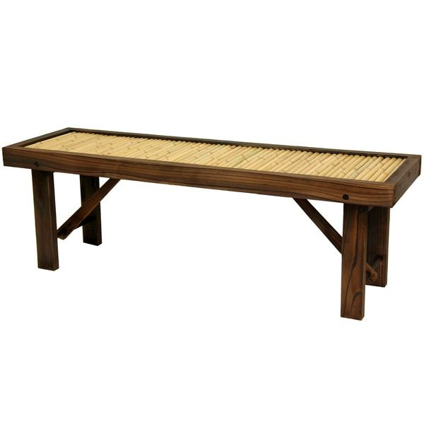 Handmade Japanese Bamboo Bench with Wood Frame (China) | Living room ...