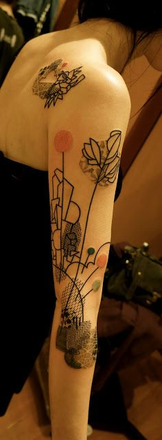 _ abstract shoulder blade & half sleeve tattoo by noon _