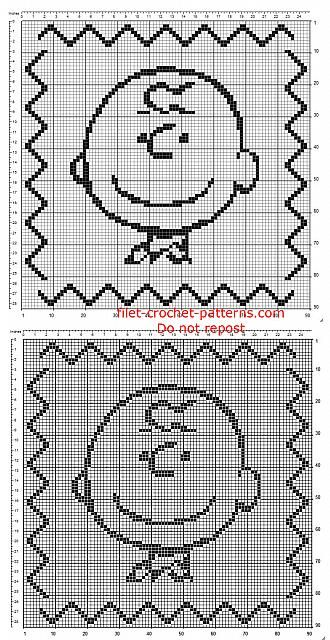 Crochet filet baby children pillow cushion with Charlie Brown 90 x ...