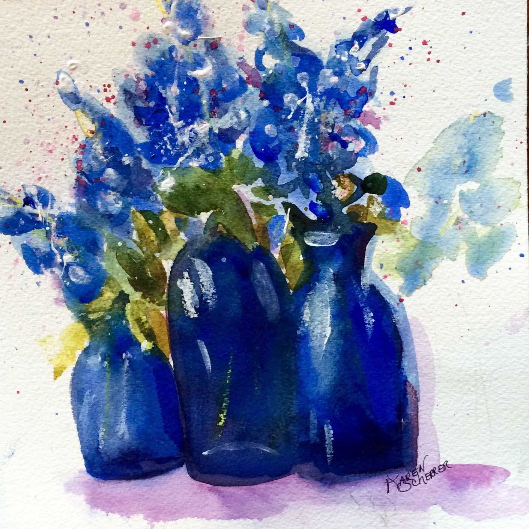Watercolor artist in texas -  Bluebonnets In Blue By Texas Watercolor Artist Karen Scherrer