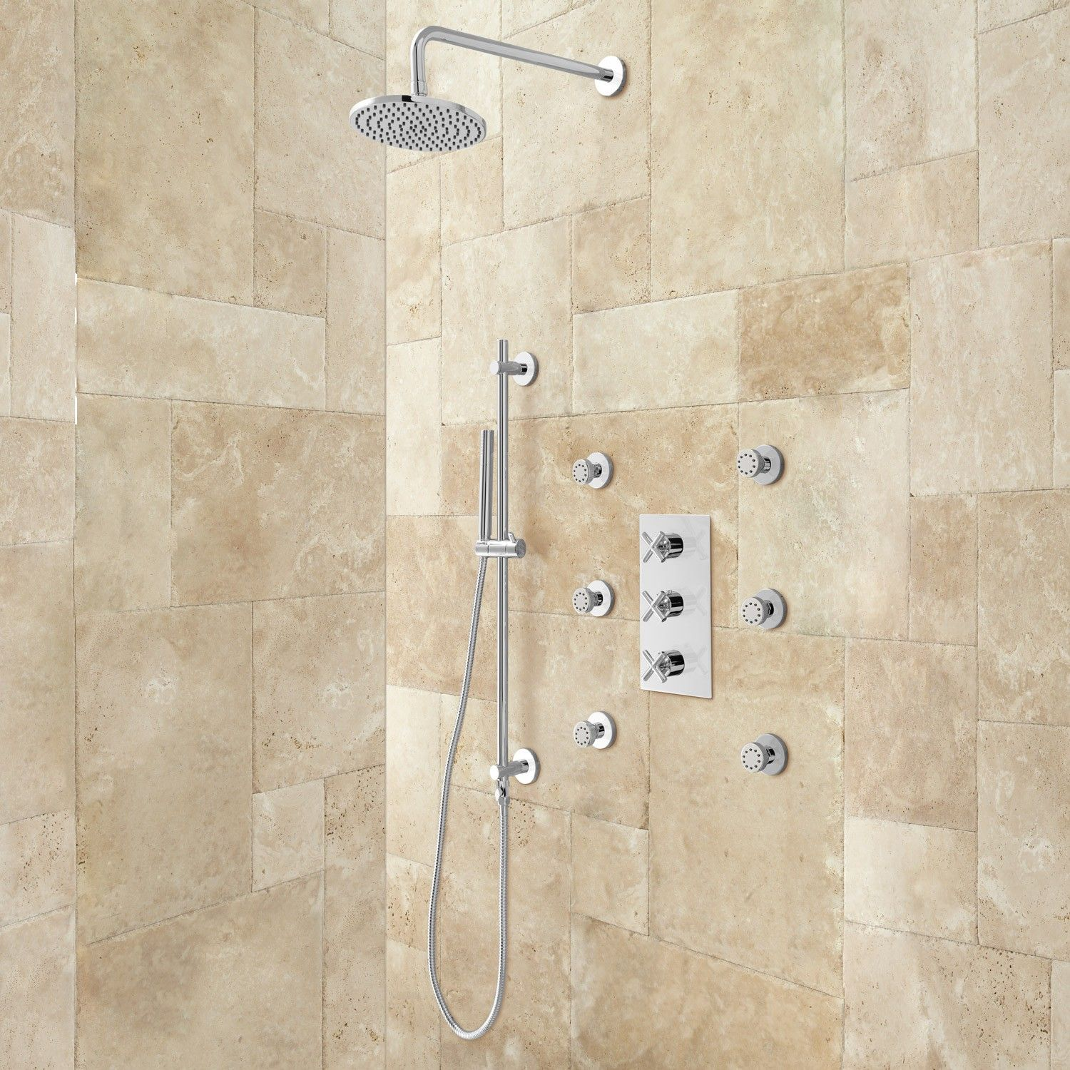 Exira Thermostatic Shower System - Hand Shower & 6 Body Sprays ...