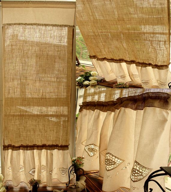 86 Shabby French Country Chic Burlap Curtain By