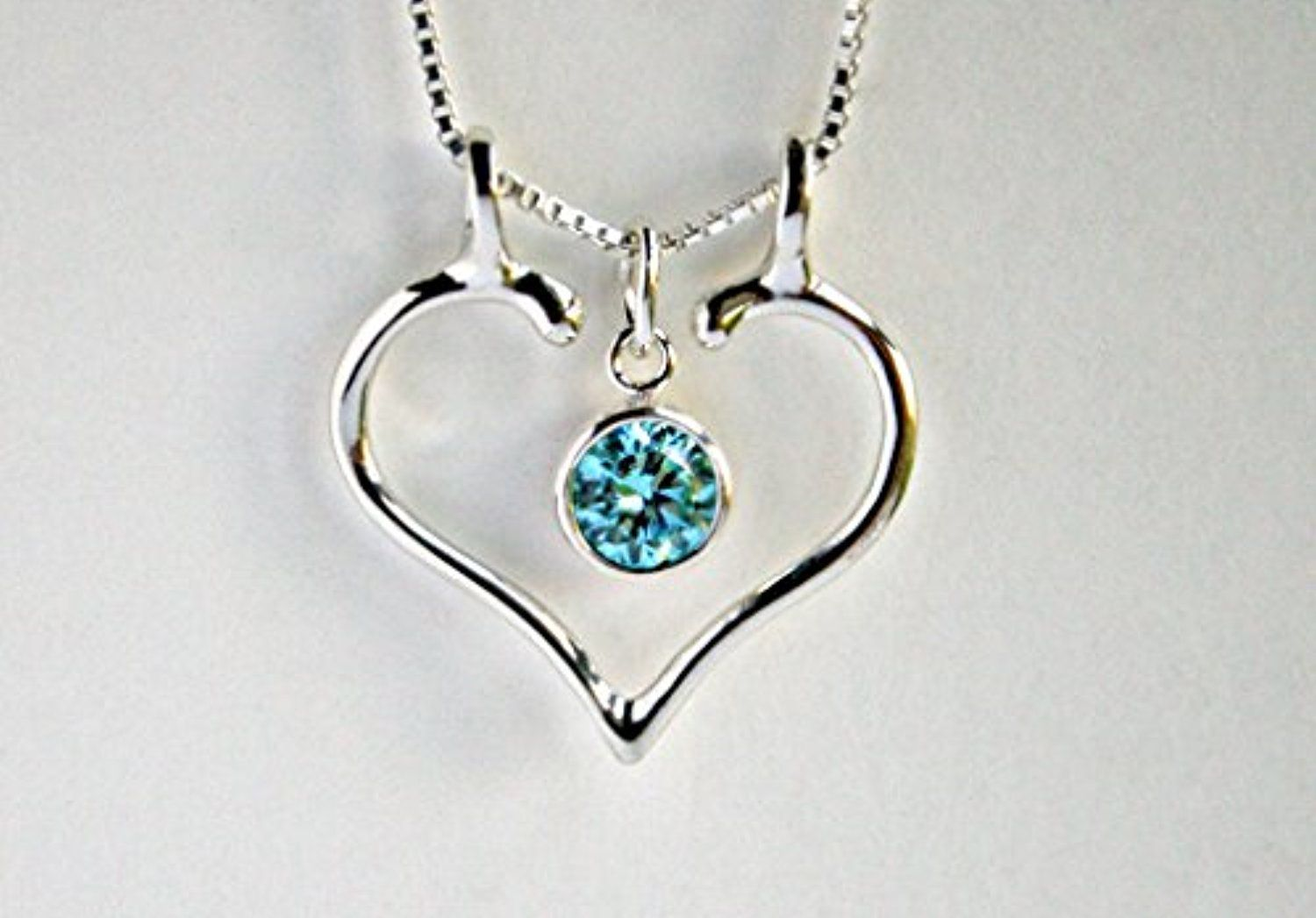 Ring holder necklace charm holder aquamarine and smooth open heart ring holder necklace charm holder aquamarine and smooth open heart by ali c art aloadofball Gallery