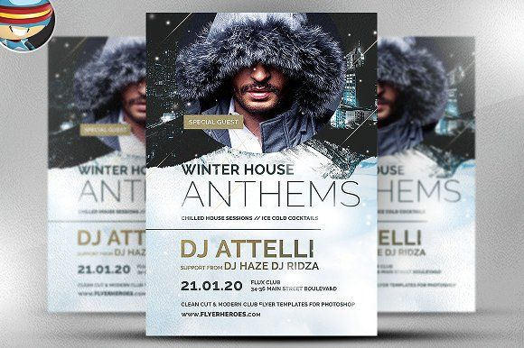 Winter Anthems Flyer Template by FlyerHeroes on @creativemarket