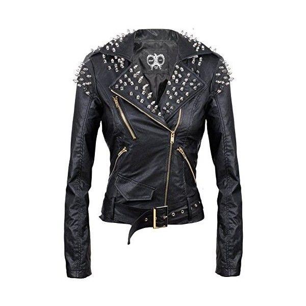 Womens Winter Slim Fit PU Leather Jacket Punk Rock Biker Zipper Motorcycle Coat