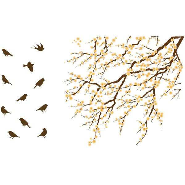 Blossom Tree With Birds Vinyl Wall Decal Set Bed Bath Beyond - Vinyl wall decals bed bath and beyond