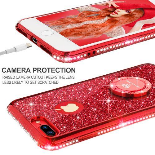 uk availability b65c6 75864 Amazon.com: iPhone 7 Plus Case, iPhone 8 Plus Case, Glitter Cute ...