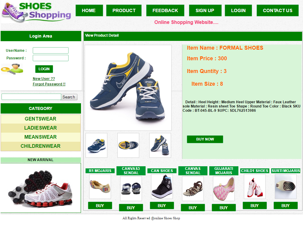 Online Shoes Shopping website project in c# | Shoes