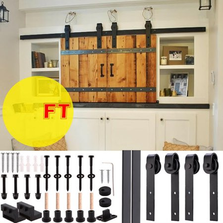 12ft Wood Door Sliding Track Space Saving Door Roller Sliding Barn Door Hardware Track System Closet Antiqu Wood Doors Sliding Door Hardware Space Saving Doors