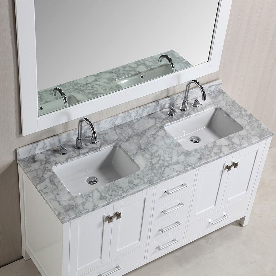 Design Element 61 London Hyde Double Sink Vanity Set In White