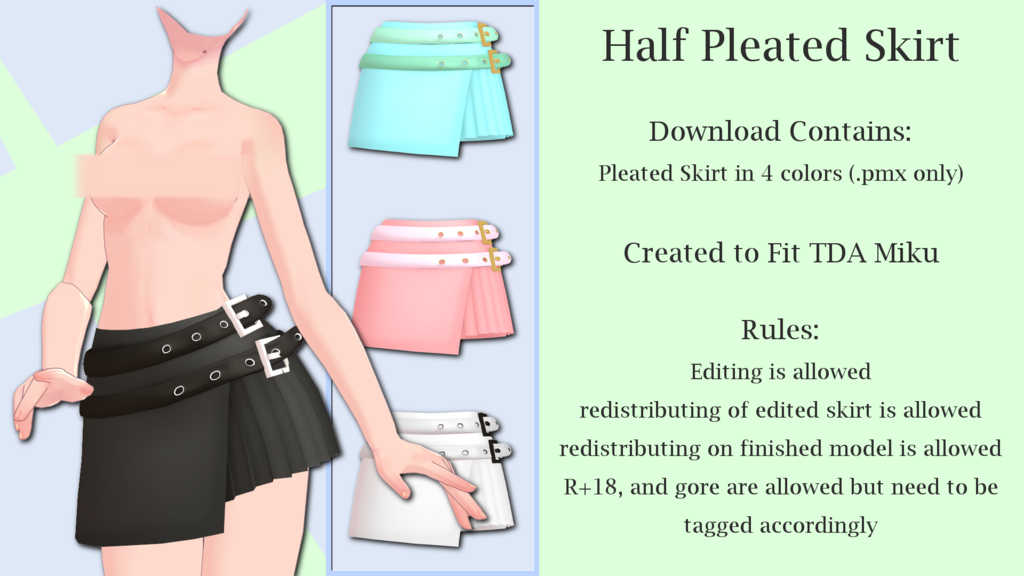 Mmd Half Pleated Skirt Dl By Arneth Myndraavn Mmd Pleated Skirt