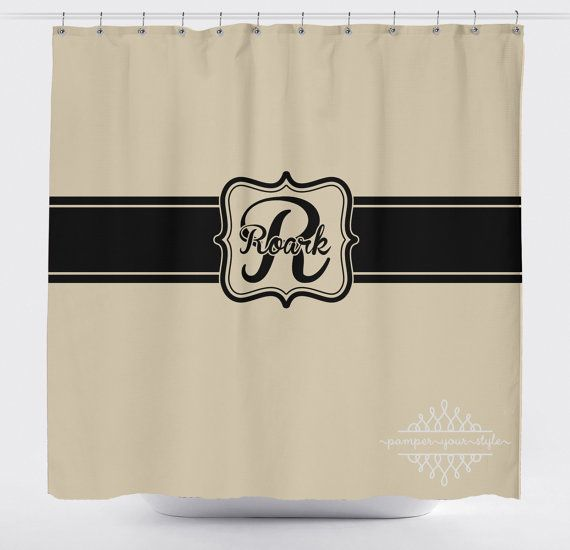 Tan And Black Monogrammed Shower Curtain Classy Bathroom Shower Curtain Guest Bathroom Shower Curtain Monogram Bathroom Shower Curtains Guest Bathroom