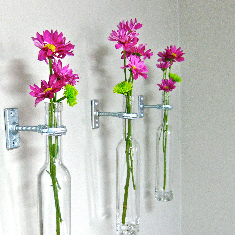 12 Wine Bottle Wall Flower Vases - Wall Vase - Wall Decor ...