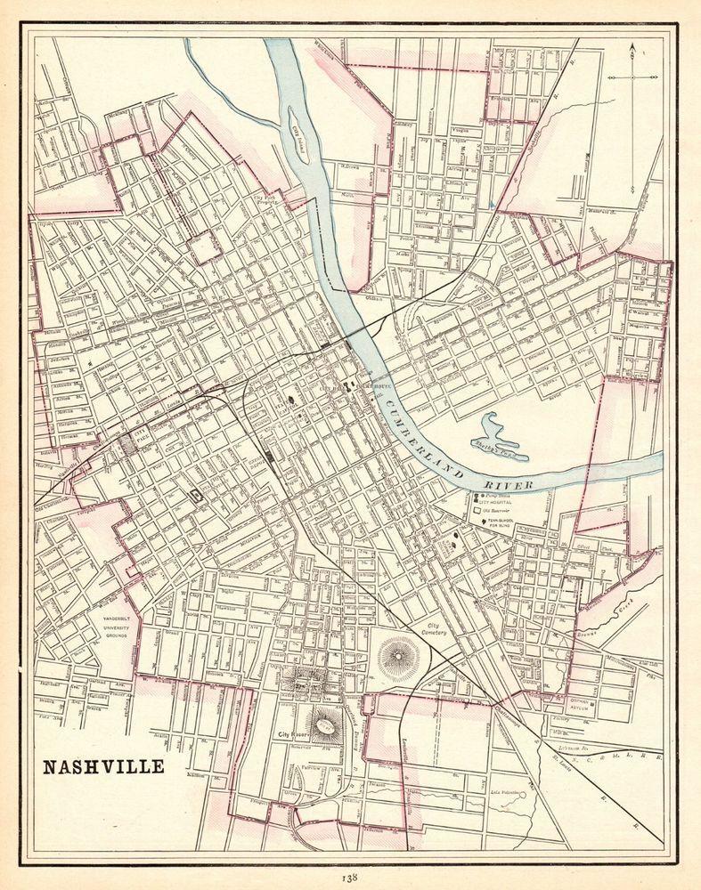Us Map Nashville.1891 Antique Nashville Map Original Vintage Map Of Nashville