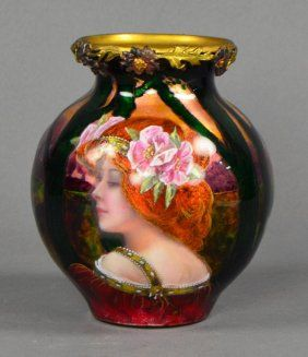 """Enamel On Copper Art Nouveau Portrait Vase, Late 19th century. With handpainted portrait of woman with flowers in her auburn hair within landscape framed by tree branches. Signed, """"Borva"""",  5 1/2"""" H. / SOLD $550"""