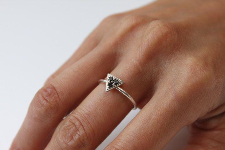 Triptych Ring -(Black Diamonds and 14K white gold). $165.00, via Etsy.