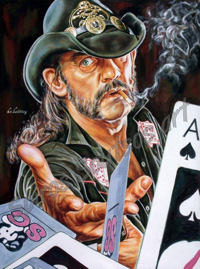 849cedfb784f0 Lemmy Kilmister painting portrait, Motörhead poster, hand-painted original  art Lemmy Kilmister painting