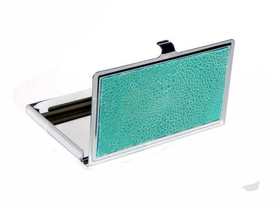 UNEARTHED card holder in aqua stingray.