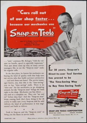 1948 Snap On Tools Ad H D Krieger Kenosha Wi Ebay Kenosha Old Advertisements Retro Advertising
