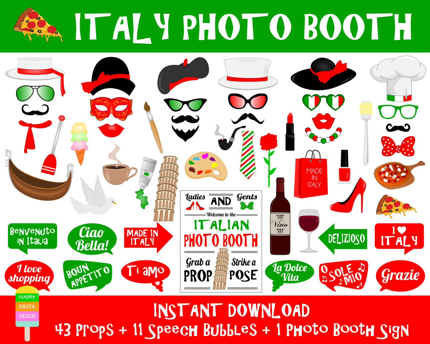 Printable Italy Photo Booth Props Italy Travel Props Italian Party Props Italian Props Italy
