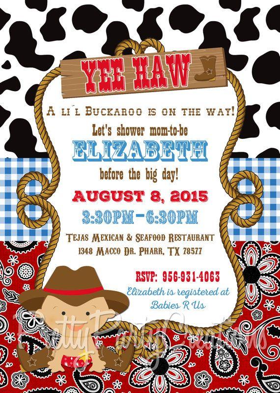 little buckaroo baby cowboy invitation first birthday or baby