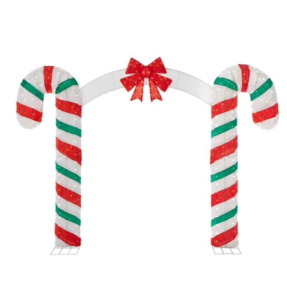 Candy Cane Lane 84 in. H x 120 in. W 350-Lights Christmas Candy Cane ...