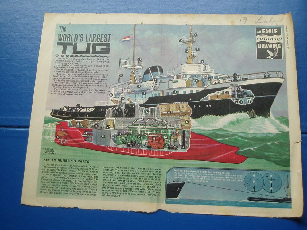 EAGLE CUTAWAY DRAWING 14/12/1963 THE WORLDS LARGEST TUG