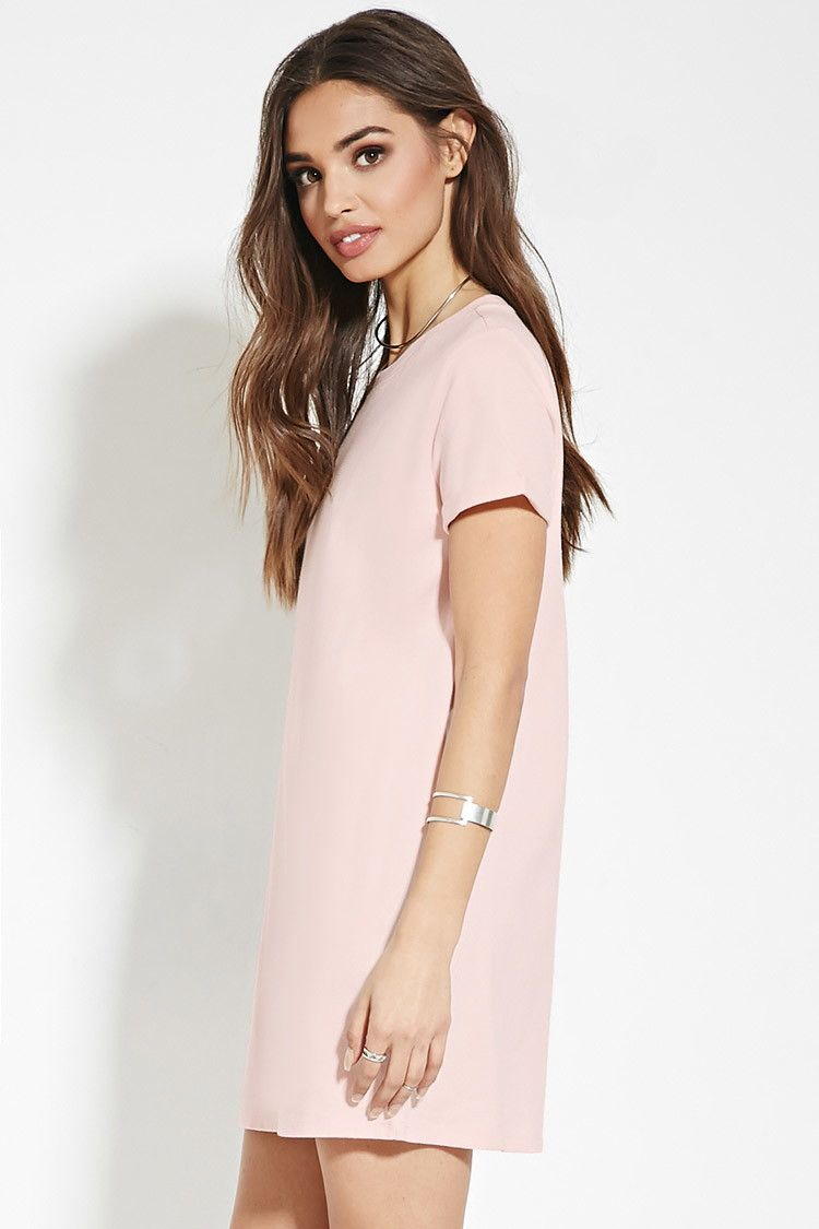 Light Pink Cotton T-Shirt Dress | Forever 21 • blush t-shirt dress ...