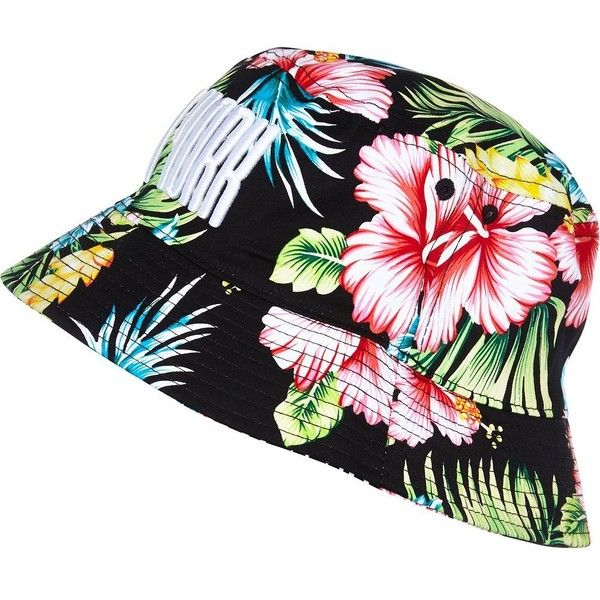 6101cda6a32 River Island Black floral print New York bucket hat ( 18) ❤ liked on  Polyvore featuring accessories