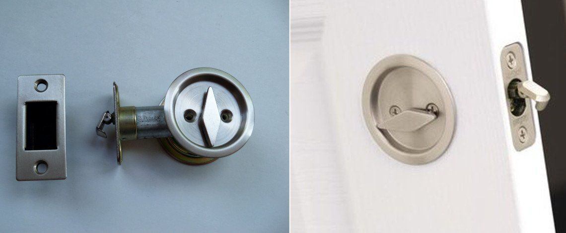Round Pocket Door Privacy Lock With Attached Edge Pull Bathroom