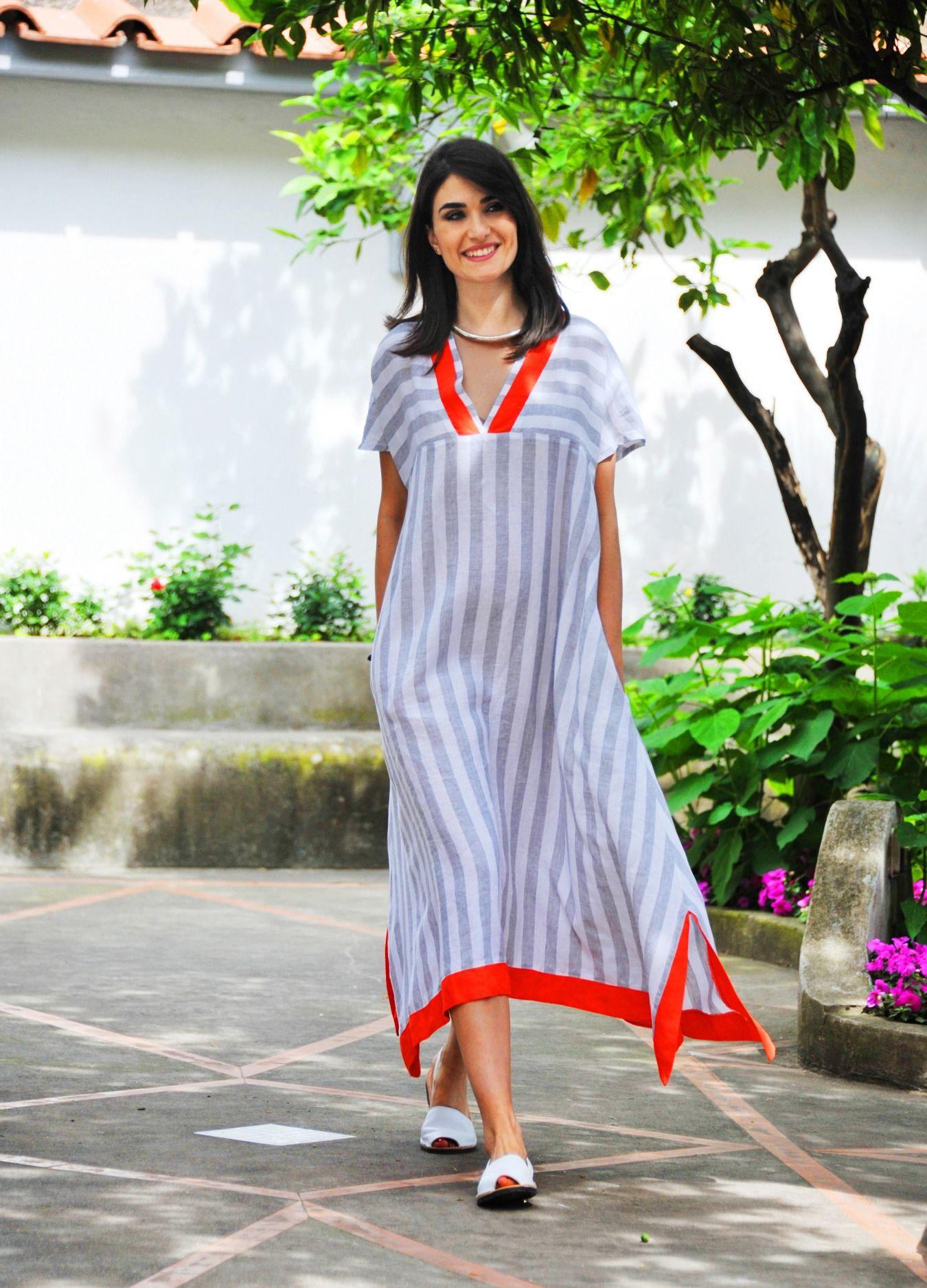 finest selection 36489 8d8a6 Abito lino, camicione Positano, moda Positano, vestito lino ...