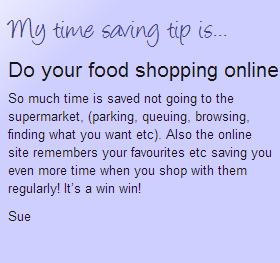 Do your food shopping online time saving tip