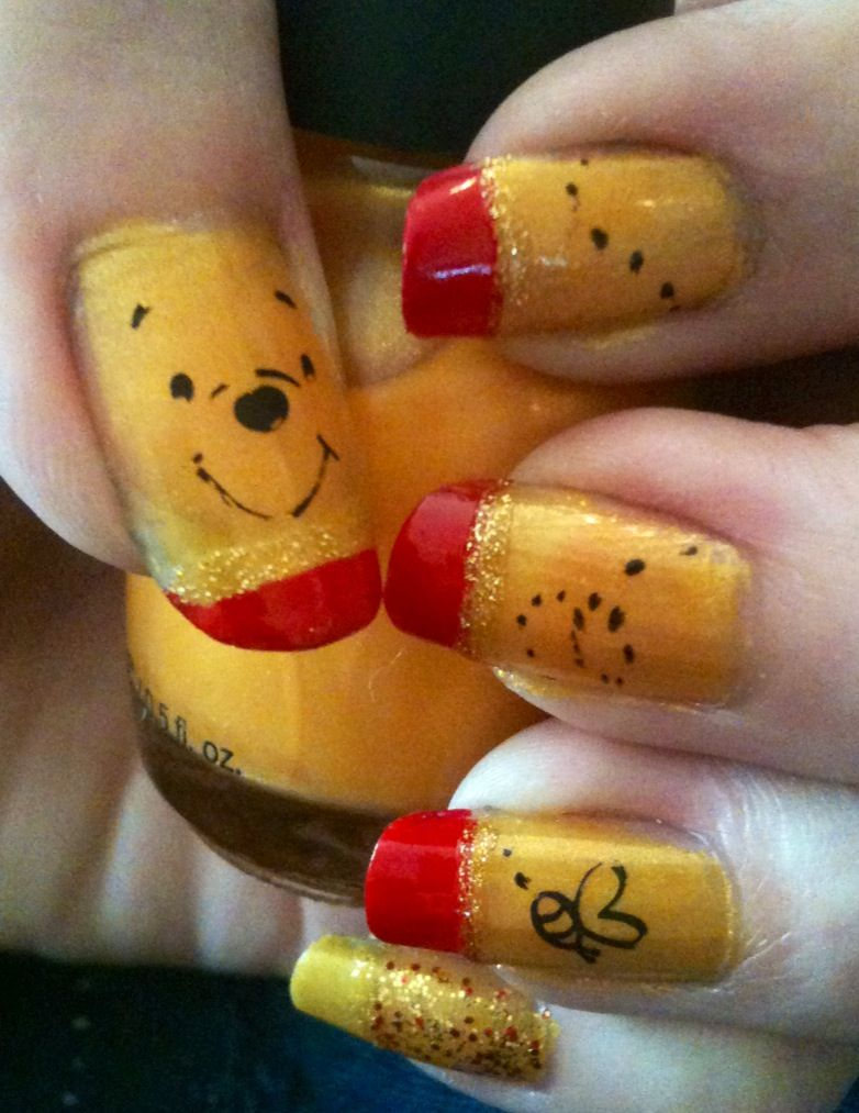 Winnie the Pooh nail art using Pooh Bear plate for stamping. | For ...