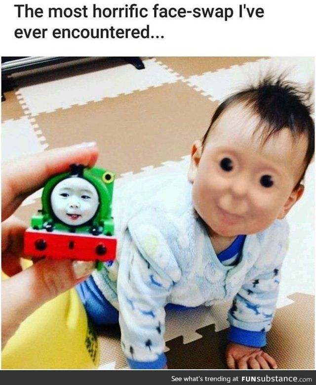 Demonic Thomas The Tank Engine Music Intensifies Duh Duh Duh Duh Duh Duh Duhhhhhhhh Funny Face Swap Funny Pictures Funny Memes